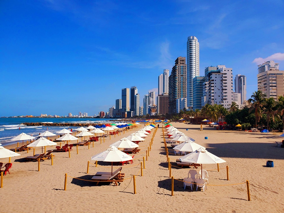 Bocagrande is the busiest of the touristy beaches in Cartagena